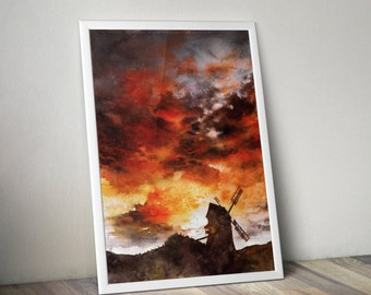 watercolor sunset painting - old windmill painting print - red sunset clouds - watercolor sky - atmospheric art - windmill watercolor art