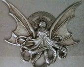 Mixed Metal Flying Octopus Brooch Steampunk Creature Cthulu Bat Style 3