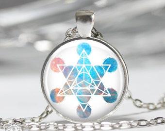 Star Tetrahedron Pendant Necklace - Merkaba Necklace Merkaba Star Sacred Geometry Boho Jewelry Watercolor Galaxy Platonic Solids Grunge
