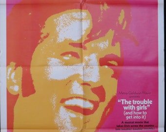 """ELVIS Stars! """"The Trouble With Girls"""" ~ Original 1 Sheet ~ ELVIS '69 Tagline ~ Sheree North, Vincent Price and Dabney Coleman Co-Star!"""