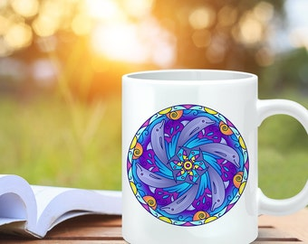 Coffee Mug Dolphin Mandala Design Coffee Cup - Dolphin Coffee Mug