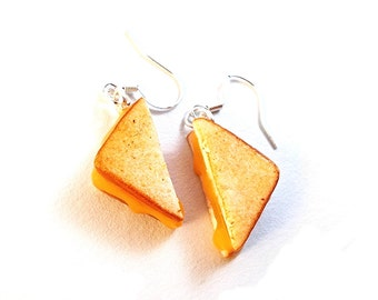 Polymer Clay Grilled Cheese Earrings, Miniature Food Jewelry