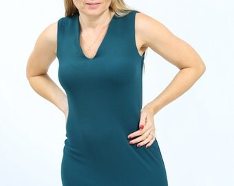Green casual dress Bodycon Pencil dress Office knee length dress sleeveless with v neck