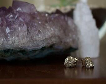 Raw Pyrite Stud / Post Earrings