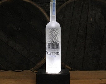 Belvedere Vodka Bottle LED Light / Reclaimed Wood Base & LED Desk Lamp / Handmade Tabletop Lamp / Upcycled Vodka Bottle Lighting