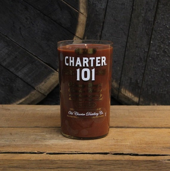 Upcycled Charter 101 Bourbon Candle Recycled Whiskey Bottle Candle Handmade Wood Wick Soy Candle 1L Recycled Glass Bottle 22oz Soy Wax