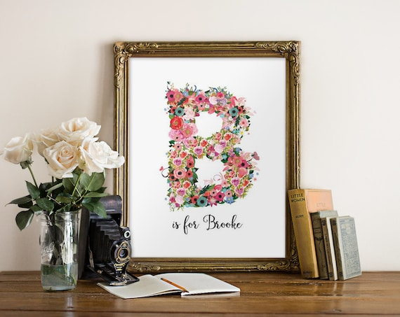 Personalized Wall Decor Letters : Personalized nursery wall art floral monogram letter