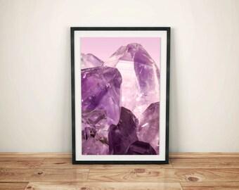 Crystal Print - Gem Print - Amethyst Print - Mineral Art - Gem Art - Bohemian Print - Crystal Art - Quartz Print - Purple Print - Amethyst