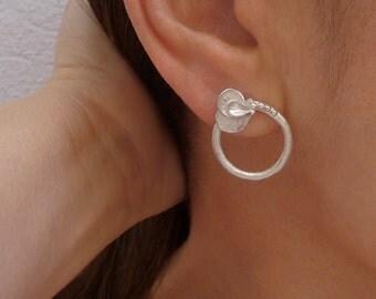 Flower Ring Earrings, Flower Earrings, Sterling Silver Earrings, Nature Jewelry, Stud  Earrings, Nature Earrings, Silver handmade Jewelry