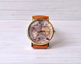 Gift for her map watch travel gift gift for women world world map watch travel her gift for women wanderlust graduation gift gumiabroncs Gallery