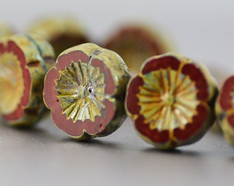 Czech Glass Hawaiian Flower Beads in Red Chestnut and Picasso Finish 14mm