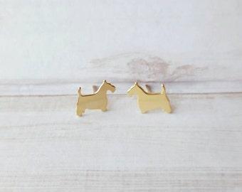 SCOTTISH TERRIER EARRINGS!! Cute earrings for dog lovers in 24k gold over copper.