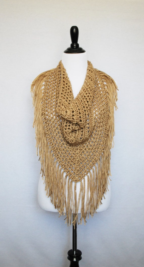 Gold Boho Crochet Fringe Scarf, Handmade Triangle Scarf, Trendy Crochet Shawl, Beige Mesh Fringe Cowl, Fringe Shoulder Wrap
