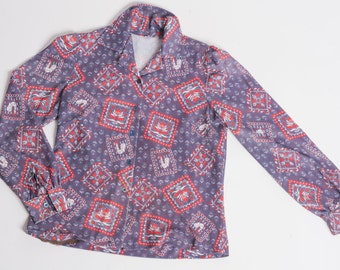 Rooster Print Button Up