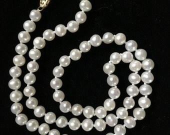Vintage Pearl Necklace w/ 14K Filigree Clasp 18""