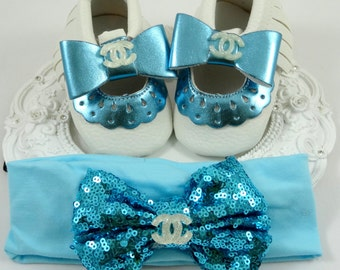 Baby Girl Crib Shoes and Headband Set, Newborn Baby Girl Shoes, Baby Moccasins, Accessories, Shower Gift, Gift for Baby