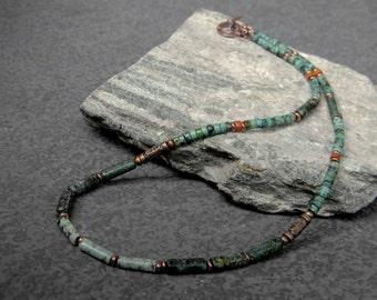 Tribal Necklace, Turquoise Jasper Necklace, Ethnic Necklace, Column Necklace, Womens Necklace, Mens Beaded Necklace, Boho, Minimalist