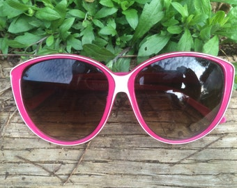 Vintage Oversized 80's Sunglasses / Hot Pink and White
