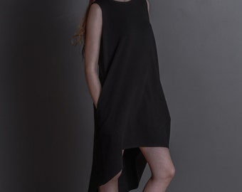 Little Black Designer Dress / Loose Black Cotton Dress / Sleevless Dress / Modern Black Dress / Little Black Dress  by DIDRESS