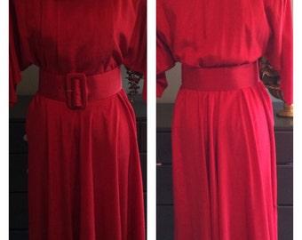 Vintage Red Tailored Shirtwaist Dress, Size 10