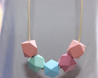 Wooden geometric necklace with leather cord