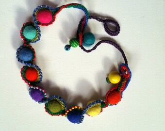 Handmade Unique Crochet Jewellery Jewelry Art Felt Necklace Leather Chain Beads Multicolor Red Blue Green Yellow Turquoise Pink Wearable Art