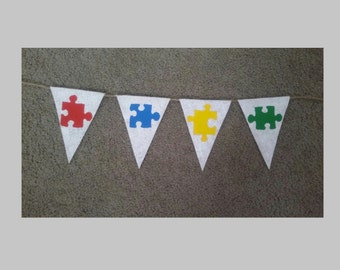 Autism Awareness.Puzzle Piece Banner.Autism Burlap Banner.Autism Burlap Garland.Autism Awareness Decor.Autism Speaks.Puzzle Banner.Autism.