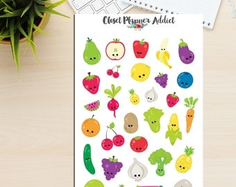 Kawaii Fruits and Veggies Planner Stickers (S-017)