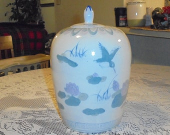 Vintage Chinese Blue & White Porcelain Lidded  Jar With Birds And Pink Flowers