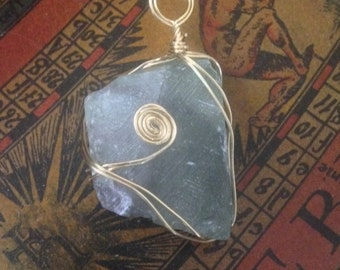 Cloudy Blue Fluorite Pendant
