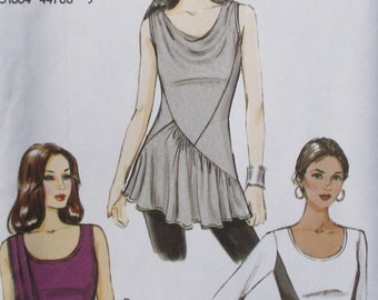 Vogue pattern, new,  pullover top, sleeveless top, long sleeve top, knit fabric only, size 14, 16, 218, 20