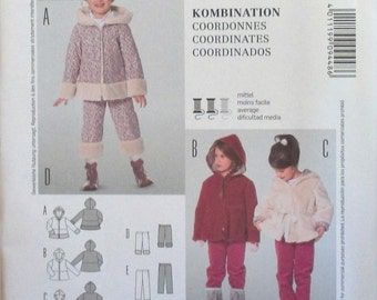 Burda Kids pattern, new, girls coordinates, short pants, long pants, jacket, size 2, 3, 4, 5, 6, 7