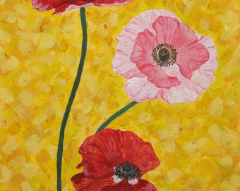 "original painting, original art, gouache, original artwork ""Poppies on yellow"""