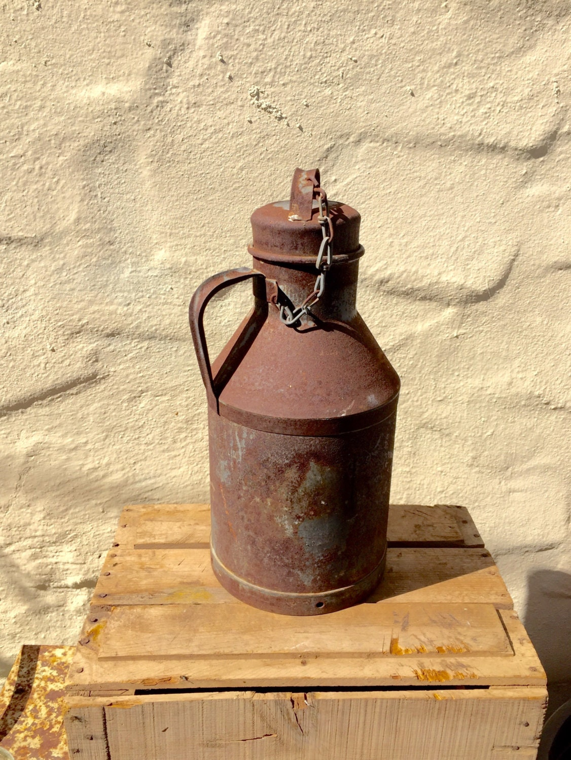 Metal Milk Can Dairy Farm Can Milk Jug With Lid Rusty Milk