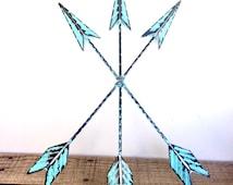 Turquoise Blue Arrow Wall Art - Arrow Decor - Turquoise Blue Wall Art - Decorative Arrows - Bohemian Wall Decor - Wall Arrow - Tribal Arrows