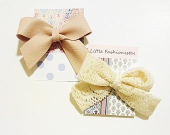 2 SET Fabric Bow hair ties/ elastics band/ lace and print fabric