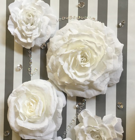 Set 5 Large Crepe Paper Flowers, | * July/August Delivery | Flower Wall Backdrop for Wedding,  Baby Shower, Baby Nursery or Party Decor
