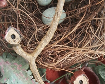 Miniature Rustic Wooden Triple Birdhouse