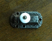Eastlake Cabinet Latch, Cast Iron Lock, Porcelain Knob, Cabinet Hardware, Vintage Lock and Keeper, Architectural Salvage