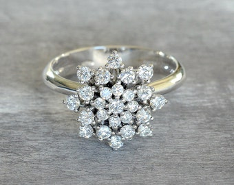 Diamond Engagement Ring, Promise Ring for Her, 18 k Gold Ring,  White Gold Diamond Ring, Classic Halo Ring, Promise Ring For Her, Gold Ring