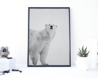Polar Bear Print, Polar Bear Art, Bear Poster, Woodland Decorations, Printable Art Abstract, Black and White Photos, Gray Poster