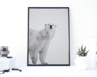 Polar Bear Print, Polar Bear Art, Bear Poster, Woodland Decorations, Printable Art Abstract, Black and White Photos, Gray Poster