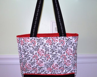 Small Red/Black Floral Tote