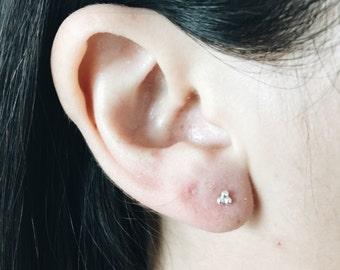 Sterling silver minimal three dot ear studs, Tiny silver ear studs, Cartilage stud, Funky ear studs, Minimal ear studs (ES235)