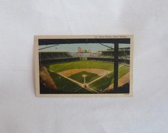 40s Briggs Stadium Linen Postcard - Detroit Tigers Baseball Park Detroit Michigan - Vintage Color Postcard