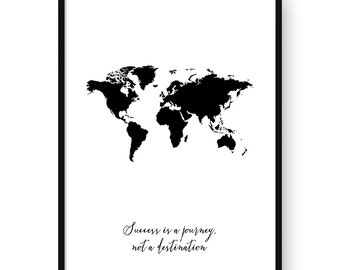 Success is a journey, not a destination. Imprimible, arte para pared, láminas imprimibles, Poster, tipografía, motivacional