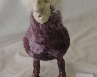 Unique  Felted Old Lady Bird with White Hair, Decorative Needle Felted Animal in a Clay Mask for your Home Décor, Collectable Felted Figures
