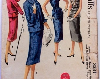 1950s vintage sewing pattern McCalls 3331, petite Size 11 Bust 29, hip 32, 50s Mad Men, Mid Century suit, wiggle skirt, top and jacket