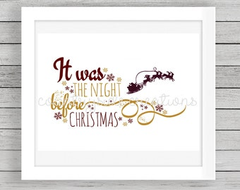 It Was The Night Before Christmas Printable, Christmas Decor, Holiday Decor, Christmas Wall Decor, Christmas Wall Art, Holiday Decor, Santa