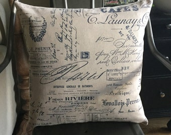 "18"" x 18"" French Script Pillow Cover"
